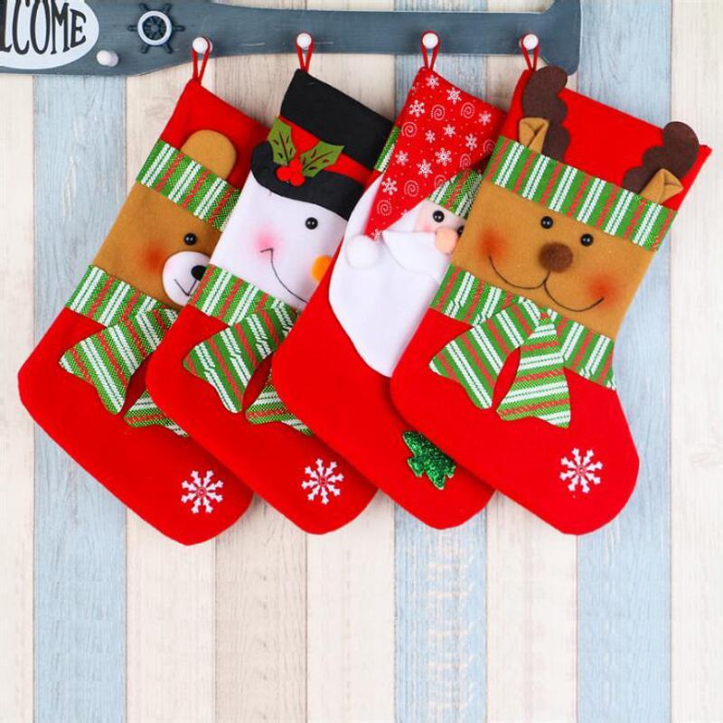 4Pcs /Lot Hot Sale New Year Extra Large Christmas Stocking Snowman Bag Gift Sock Ornament Socks Christmas Tree Ornaments Supplies