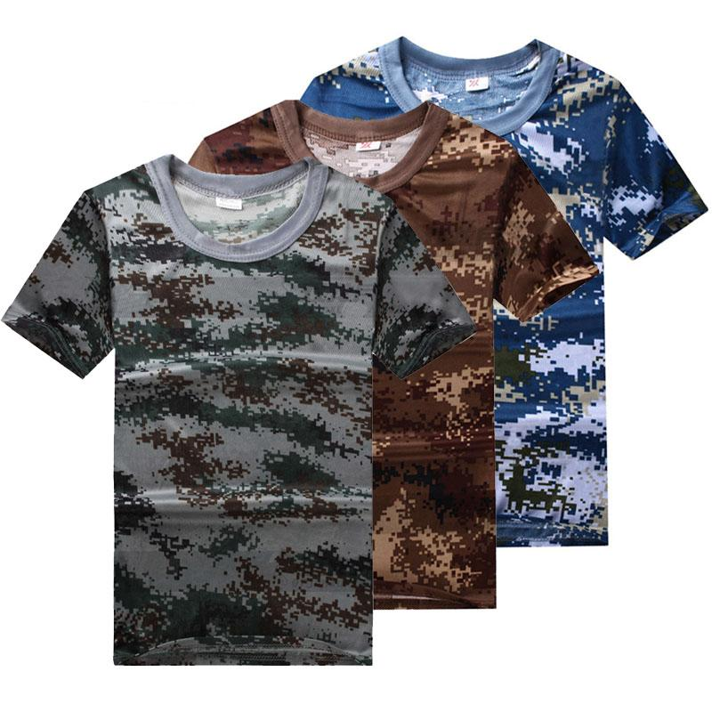 뜨거운 뉴 여름 남자의 통기성 빠른 건조 의류 07 체육 학교 정글 위장 T - 셔츠 군사 의류 티셔츠