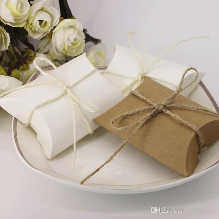 100pcs Kraft Pillow Candy Boxes Wedding Faovrs Christmas Anniversary Party Gift Paper Box Free Shipping or white Color