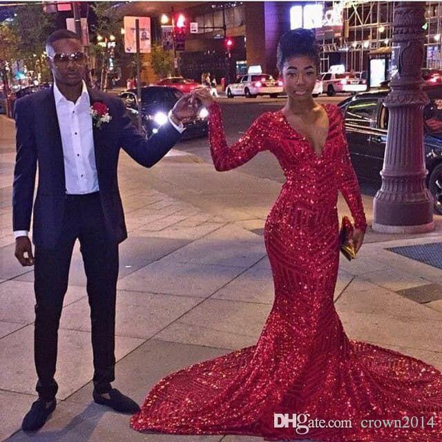 Sexy Bling Sequins Red Mermaid Prom Dresses 2021 African 2k16 Black Girl Long Sleeves V Neck Special Occasion Prom Gowns Free Shipping