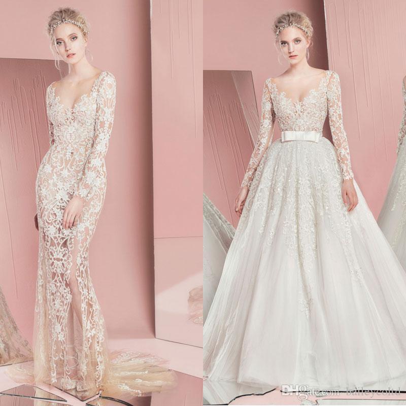 compre zuhair murad vestidos de novia de sirena 2016 sheer scoop