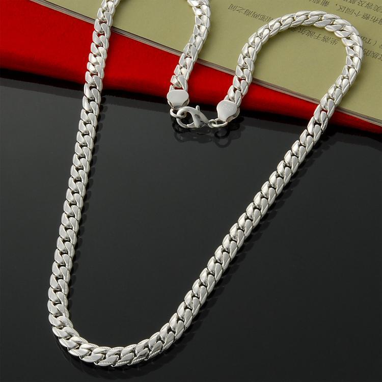 """Collar de vaquero de cadena Curban de 7 mm 20 """"de las mujeres directas de la fábrica de los hombres de la venta en 925 Sterling Silver"""