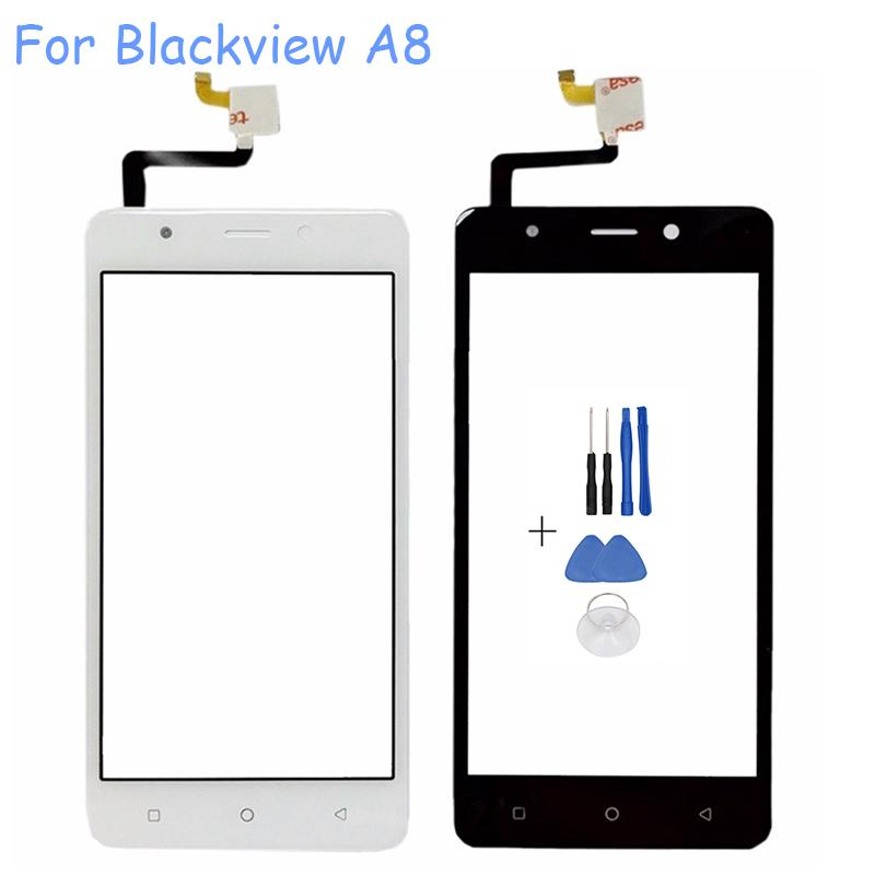 Wholesale- Mobile Phone Digitizer Glass Panel Fro Blackview A8 Touch Screen Front Glass Lens Touchscreen Sensor Replacement+ Tools Set