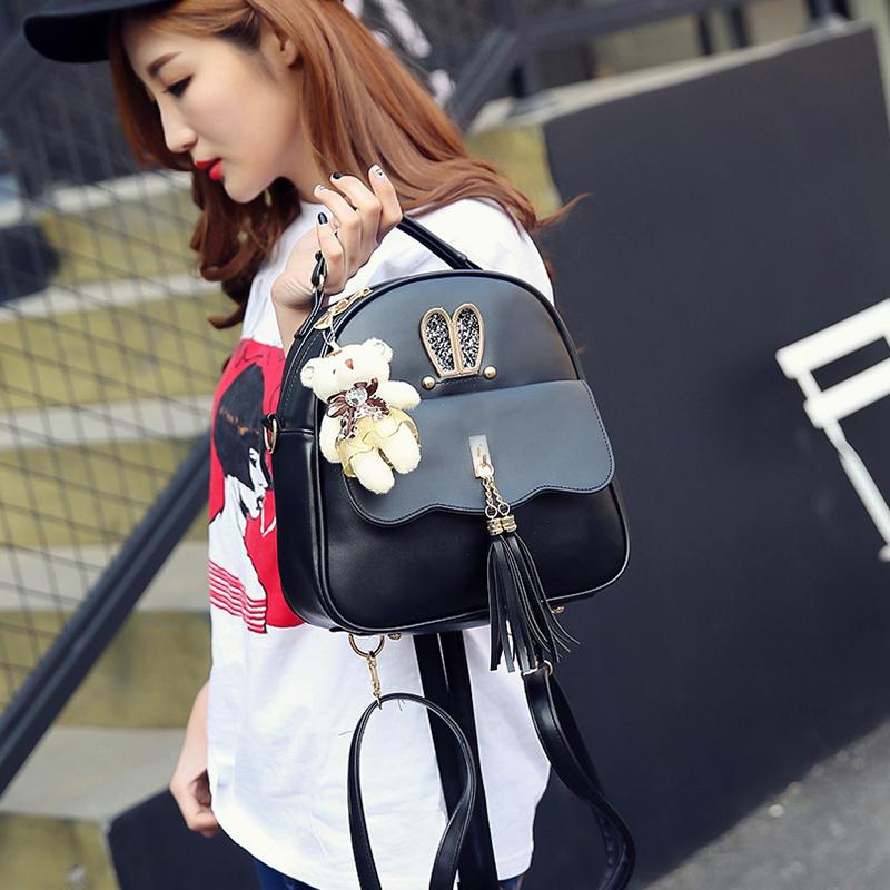 e07ec95b9b4f Women Back Pack Bag Teenage Student School Travel Backpack Tassel Shoulder  Bag Girls PU Leather Small Cross Body Bag Backpack Purse Dog Backpack From  ...