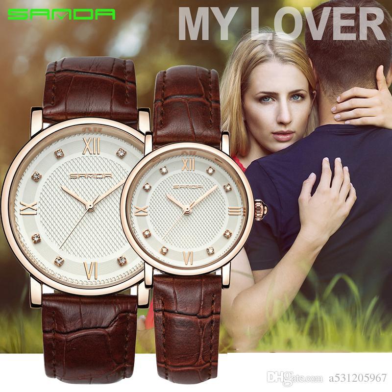 Санда смотреть любовник часы Rhinestone кварцевых часов reloje Mujer Montre Женщины Кожа мужчины Часы фам Saat