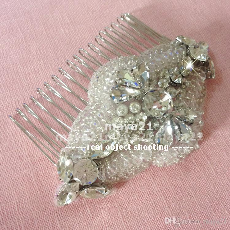 Small Sliver Bridal Wedding Accessories Bridal Hair Combs Hand Beaded Wedding Headpiece Beaded Sparkly Bridal Hair Combs