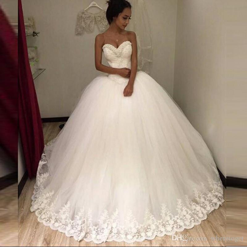 حمالة مثير 2019 جديد مطرز الدانتيل الأبيض تول الكرة ثوب ثوب الزفاف أثواب الزفاف أثواب الزفاف للعروس