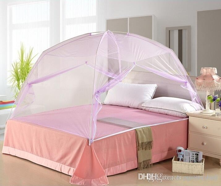 Mosquito Net Tent Portable Folding Summer Sleeping Bedroom Anti Mosquito Netting with 2-Way Zipper for Beds Home Bedroom Camping 60 x 79 Inch Pink