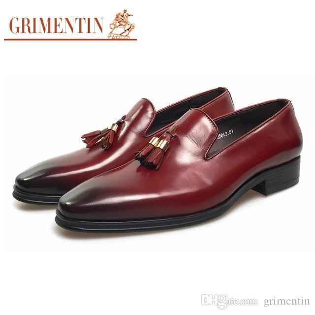 GRIMENTIN Hot sale Italian fashion formal mens dress shoes tassel slip-on leather men loafers genuine leather business wedding mens shoes