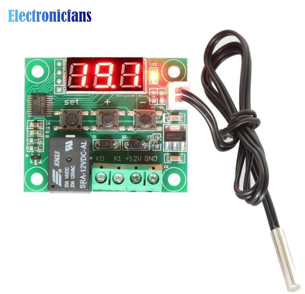 Al por mayor- W1209 Digital LED DC 12V Heat Cool Temp termostato Interruptor de control de temperatura Módulo On / Off Controller Board + Sensor NTC