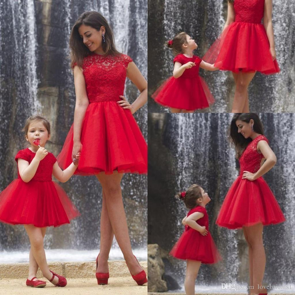 2019 red lace a line short mother and daughter dress jewel capped sleeves lace formal party gowns prom dresses