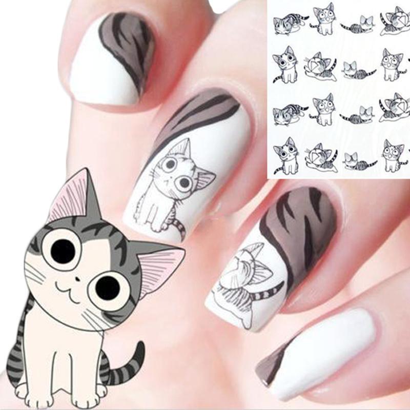 Heißer Verkauf 3D Schwarze Nette Katze Design Nail Art Aufkleber Maniküre Aufkleber Tipps