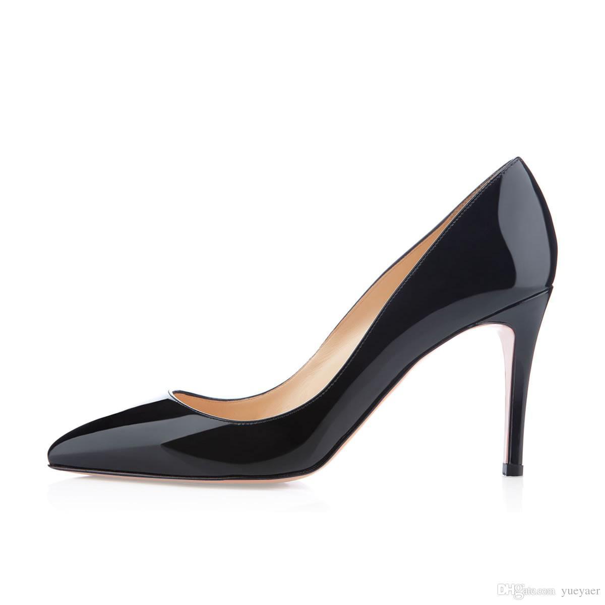Karmran Bayan Bayanlar El Yapımı Moda Marka Bigalle 85mm Fransız Tarzı Basit Ofis Parti Ayakkabı Siyah Z6289 Pompaları
