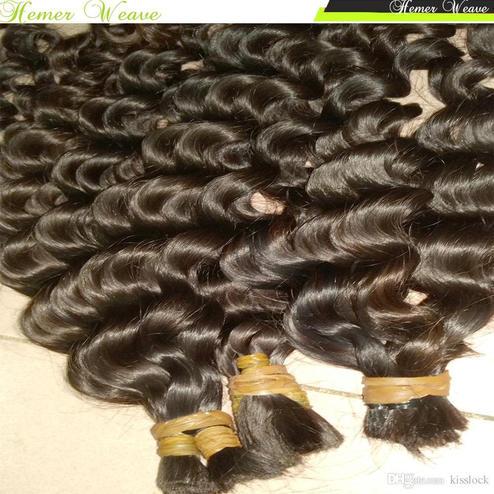 % 100 Virgin Hint saç örgü tığ toplu İnsan Saç Gevşek Derin kıvırcık 300g / lot Tam Paketler Kardeş Satın Birçok dalga