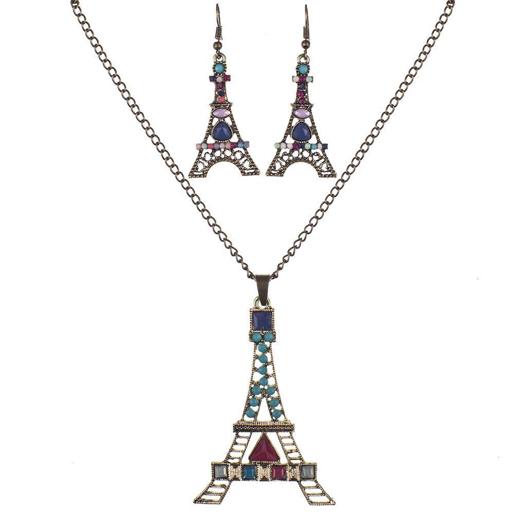 MS1504522 Set di gioielli di alta qualità Set di collana di alta qualità per le donne Gioielli in resina di cristallo Design unico oceano Torre Eiffel Animal