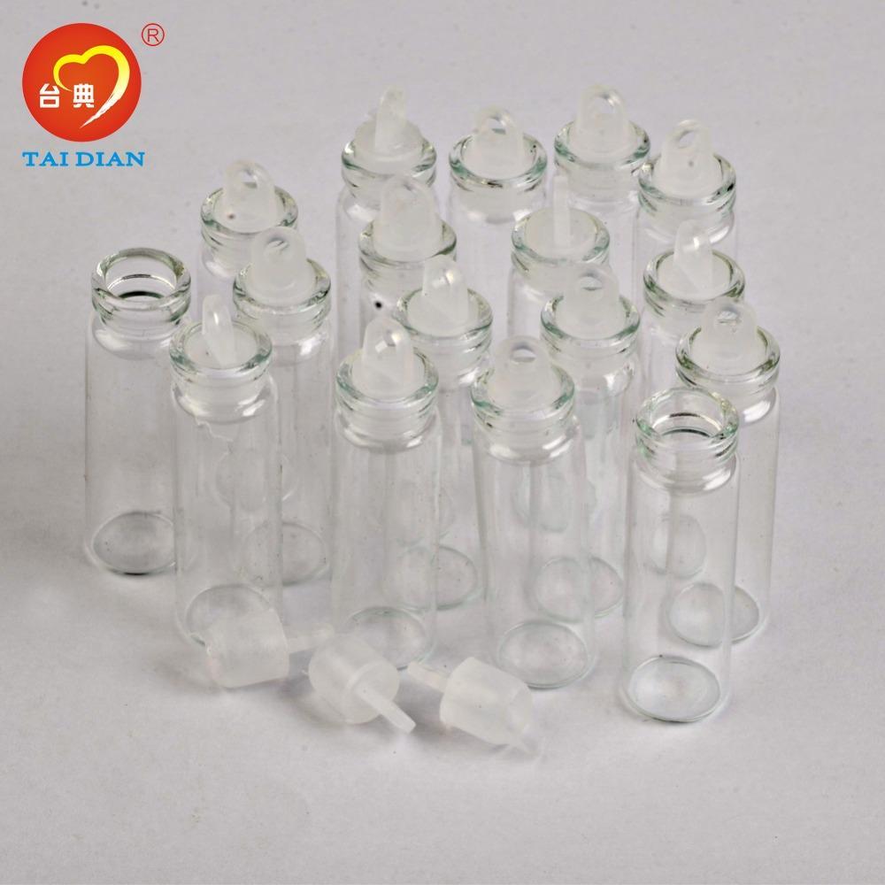 2ml Mini Glass Bottles Pendants With Cork or Rubber Stopper 2mlSmall Bottle Decoration Crafts Vials Jars Gift DIY Bottles