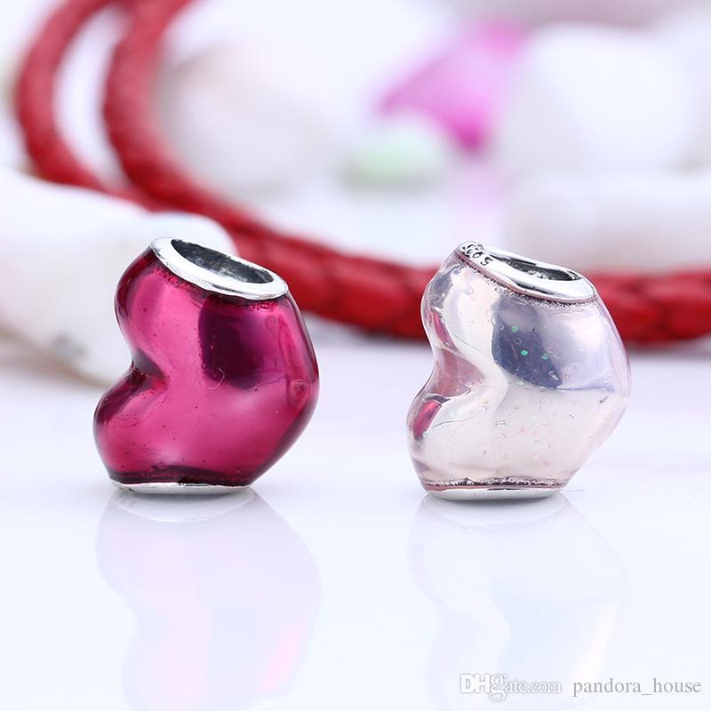 Nouveau Réel 925 En Argent Sterling Non Plaqué Émail Coeur Charmes Charmes Européens Perles Fit Pandora Bracelet DIY Bijoux