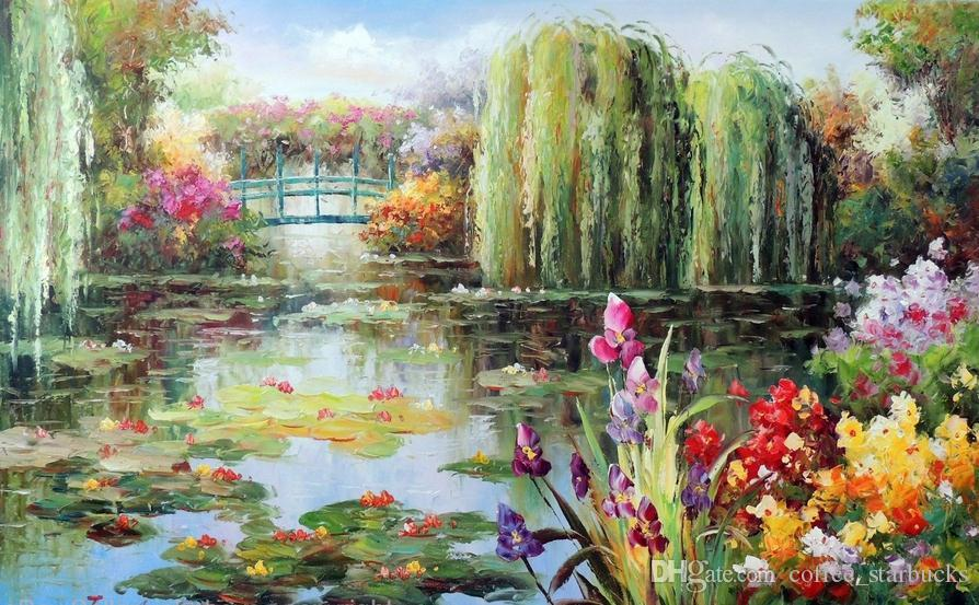 2020 Lily Pond Weeping Willow Trees Purple Iris Flowers Pure Hand
