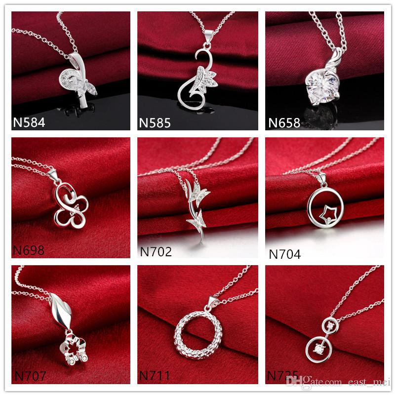 Butterfly round ring 925 silver Necklace(with chain) 10 pieces a lot mixed style, women's gemstone sterling silver Pendant Necklace EMP5