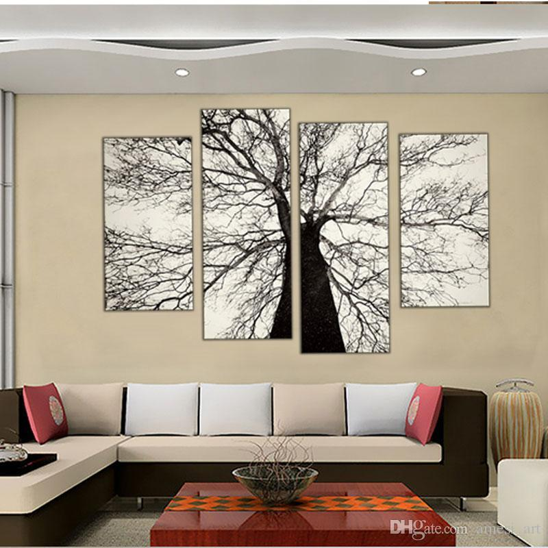 4 Picture Combination Famous Modern Paintings Black and White Winter Tree Oil Painting Spray Pain Art Home Wall Decoration