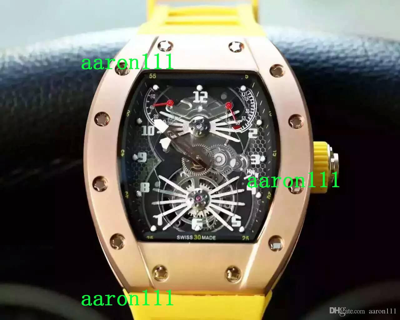 Wholesale Low Prices Luxury Rose Gold Stainless RM022 Yellow Rubber Bands Mens Mechanical Automatic Watches Modern Men Fashion Wristwatches