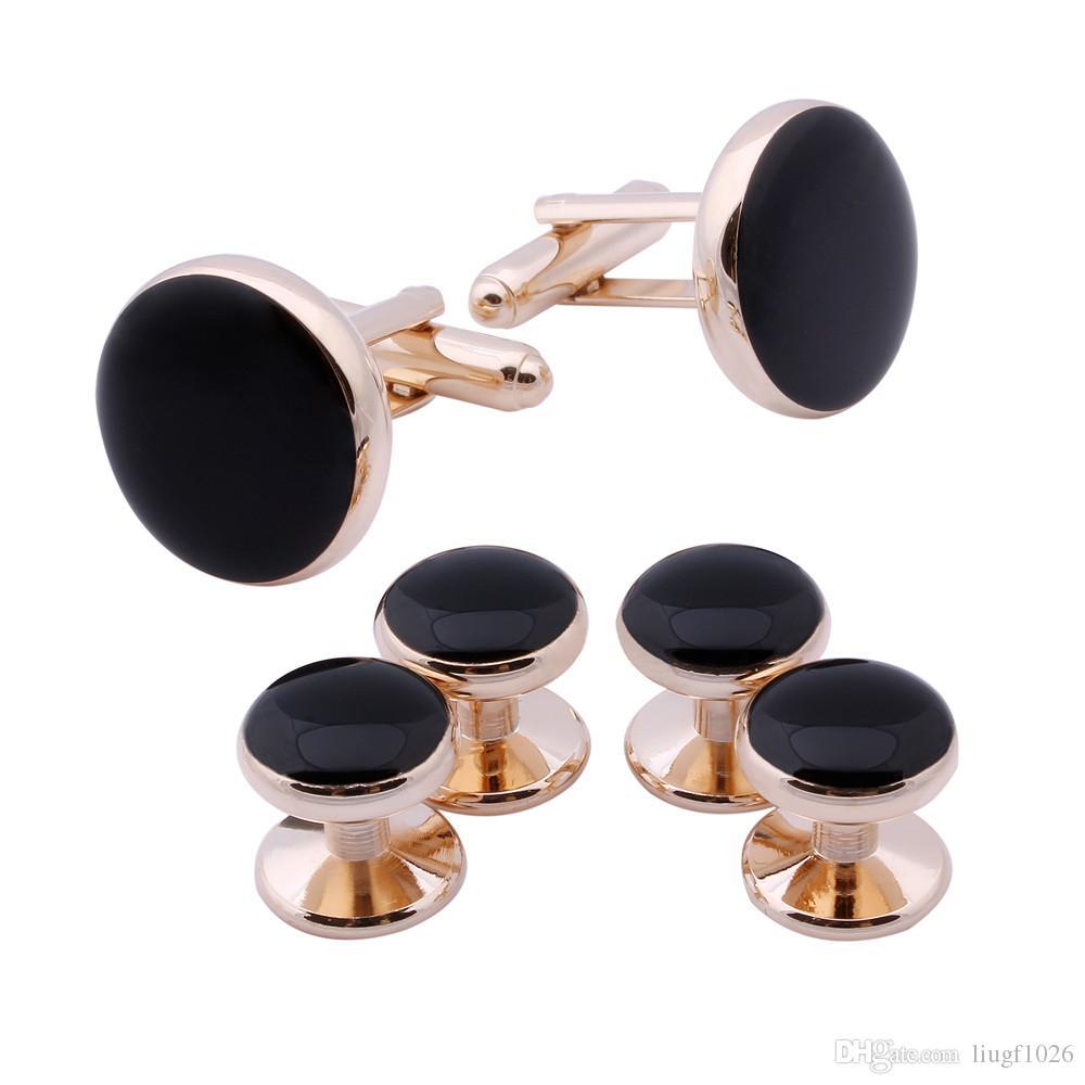 Erkekler Örgün Balolar Gelinlik Suit için Siyah Emaye Pembe Altın Kaplama Moda Round 4 Studs Seti Kol Düğmeleri Takı
