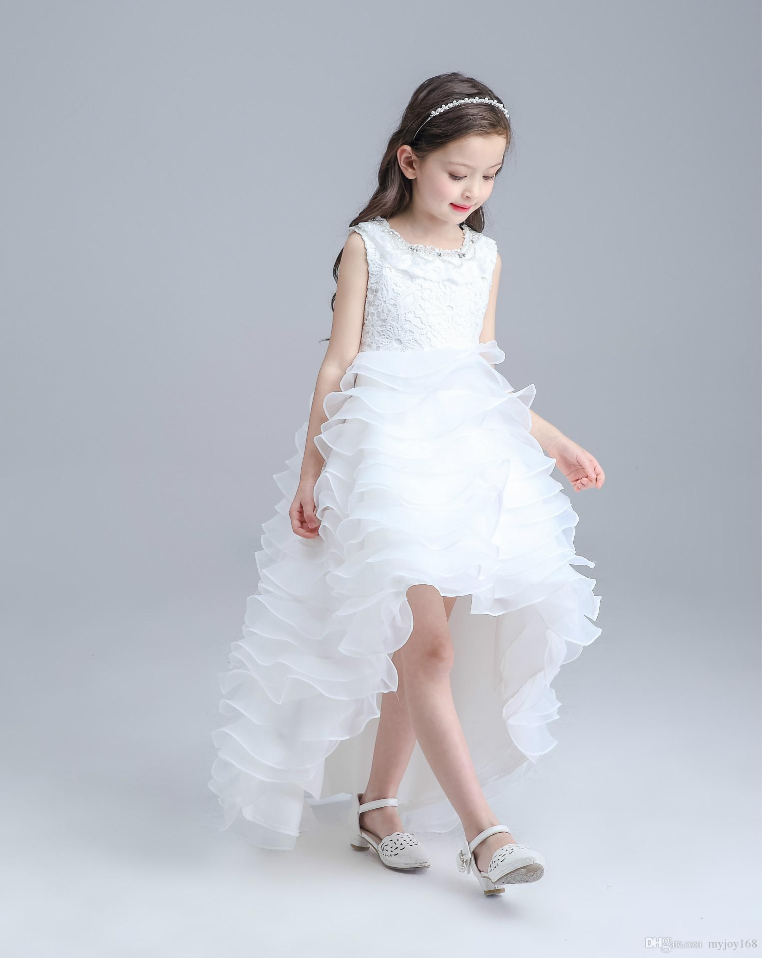 Retail 2016 New Flower Girl Dresses Pearl Belt White Flower Girl ...