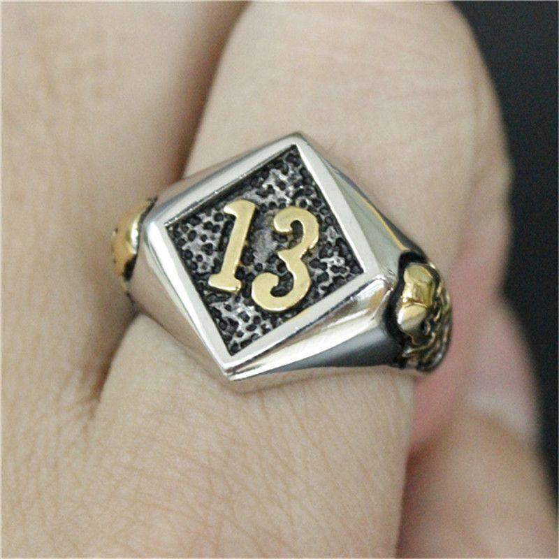 2 pçs / lote tamanho 8-14 Novo Número De Ouro 13 Anel de Aço Inoxidável 316L Homem Fresco Fantasma Anel De Caveira De Ouro