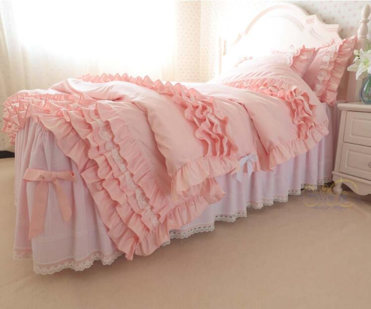 pink princess Luxury cotton twill big ruffles bowknot Craft embroidery warm 4 layers bedding sets 4pcs, pillowcase, bed skirt Duvet Cover