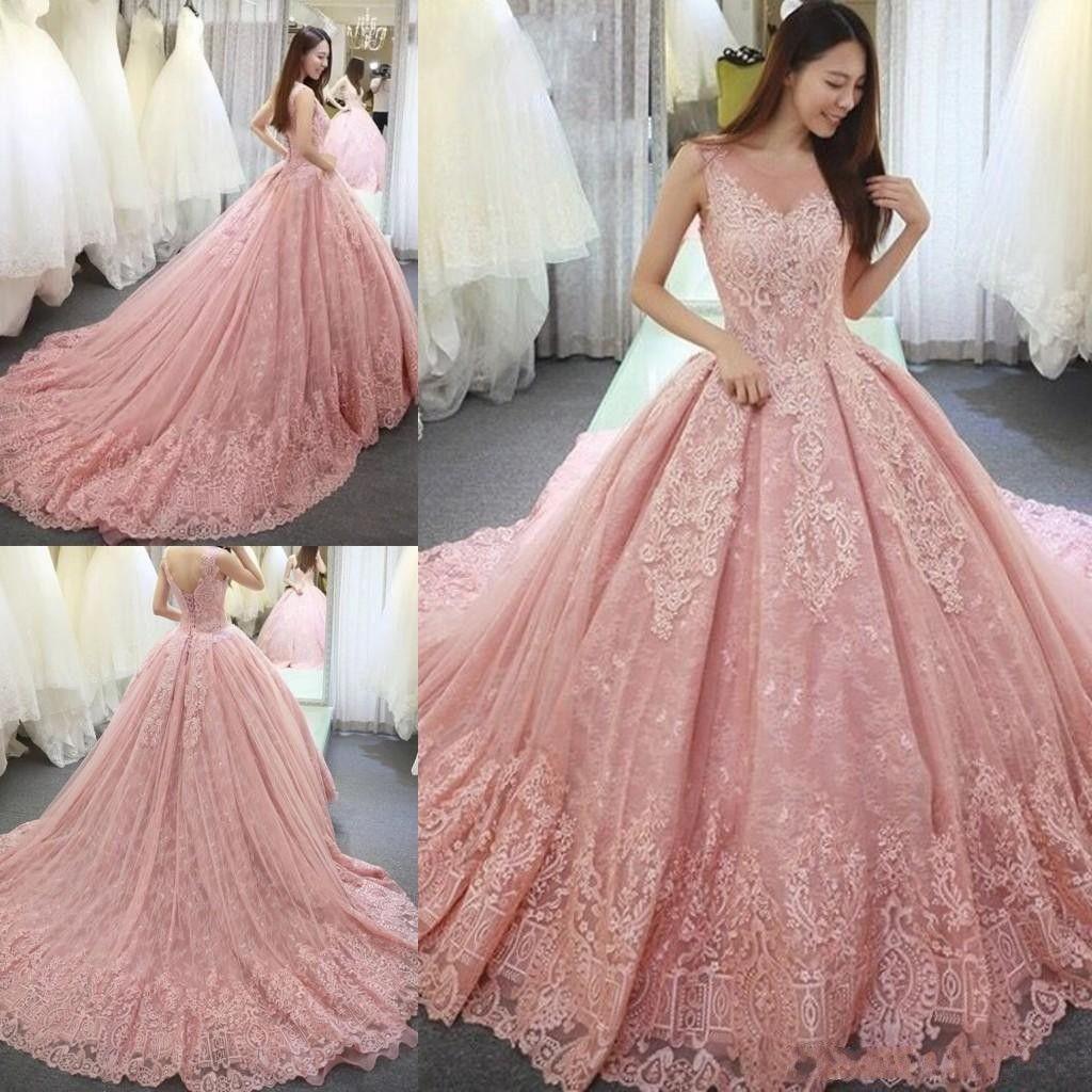 Großhandel 11 Luxus Rosa Ballkleid Prom Kleider Appliques Spitze Süße 11  Kleid Scoop Neck Vestido De Festa Lange Tulle Formale Abendkleider Kleider