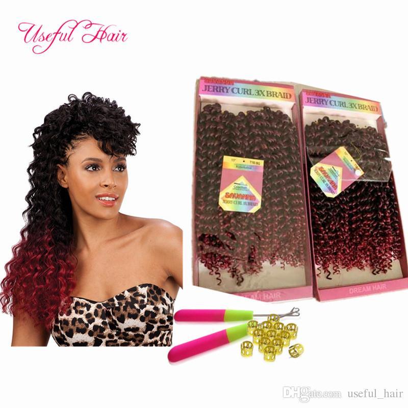 preloop extensões de cabelo crochet freetress madeixas de cabelo brasileiros pré anelada savana Jerry encaracolado tranças de cabelo trança sintético Ombre Tramas