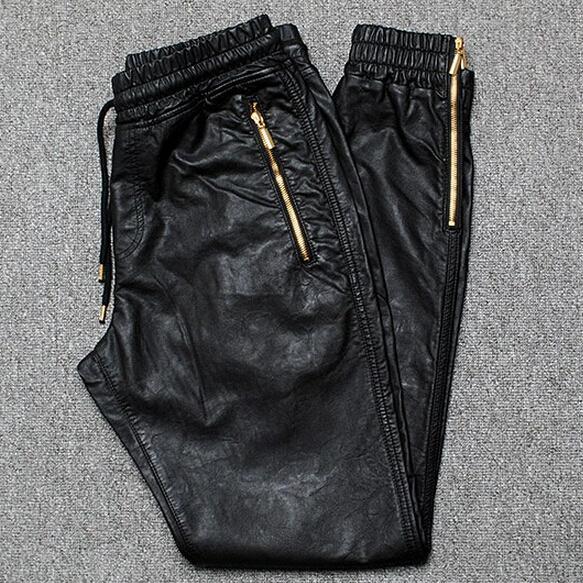 Atacado-Men Corredores PU Jogger Leather Pants Side Zipper 2016 New Moda Masculina Couro Calças frete grátis