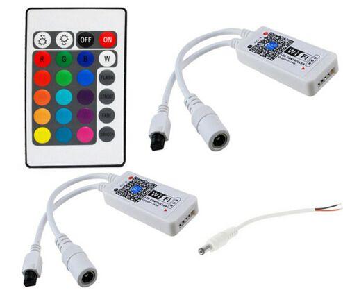 Smartphone Steuerung Mini WIFI RGB RGBW LED Controller 12 V + 24 Tasten IR Fernbedienung für Led-lampe Streifen Sync Timer Musik Modus mit DC Stecker