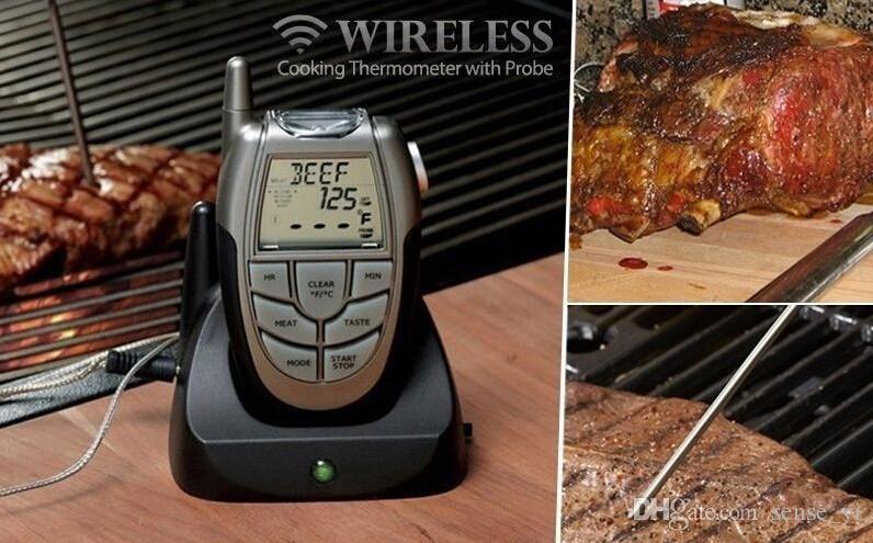LED Dijital Kablosuz Uzaktan Mutfak Termometre Barbekü Kablosuz Gıda Pişirme Sıcaklık Ölçer Sığır Et Probe Termometre Zamanlayıcı Araçları