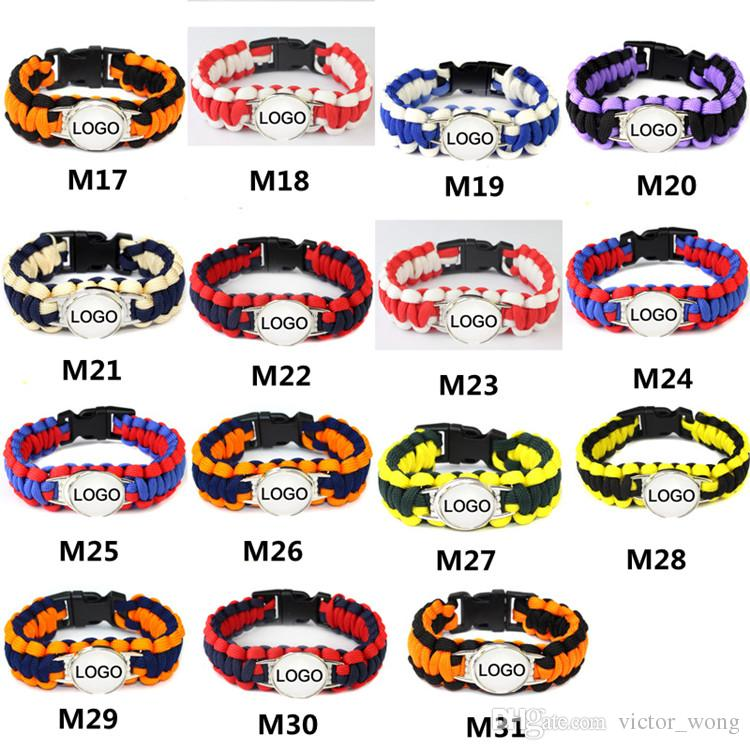 Mix Styles Baseball League Paracord Sopravvivenza Bracciali Custom Made Camping Sports Bracciale Personalizzato logo ombrello braccialetto squadra