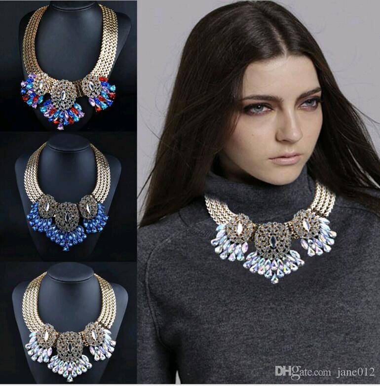 Style occidental Chunky Choker Collier Bijoux De Mode Alliage Strass Cristal Fleur Waterdrop Pendentif Collier Vente Blanc Bleu Coloré