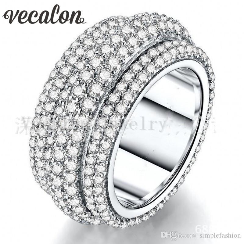Vecalon 2016 여성 반지 310pcs 전체 시뮬레이션 다이아몬드 주위 Cz 925 스털링 실버 약혼 결혼 반지 여성을위한