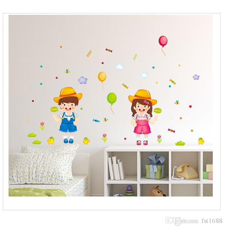 Smiling Boy And Girl Wall Sticker Removable PVC Balloon Decals Kids  Children Bedroom Nursery School Home Decor Wall Stickers Make Your Own Wall  ...