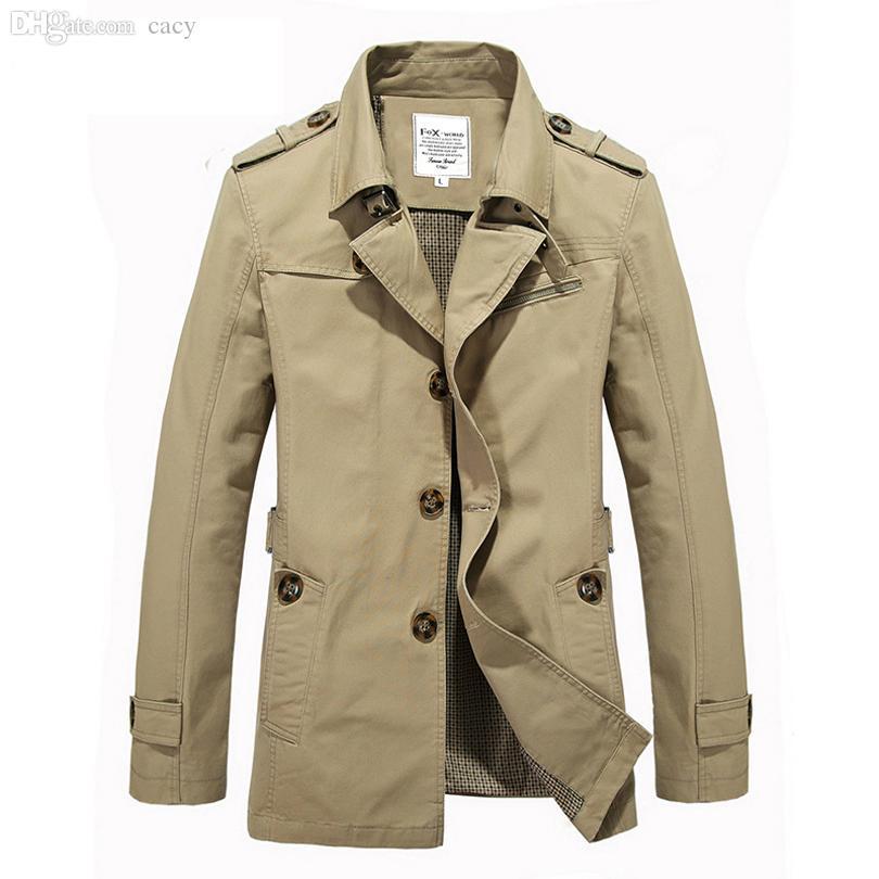Automne-2016 New Automne Hommes Veste Coupe-Vent Britannique Style Hommes Trench-Coat Long Manteau Mâle Mode Manteau Casaco Longo Masculino