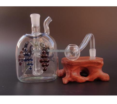 Spedizione gratuita 1 lotti Tubi di vetro bubbler olio rig bong di vetro doppio fondo delfino piatto piatto JH038-10mm
