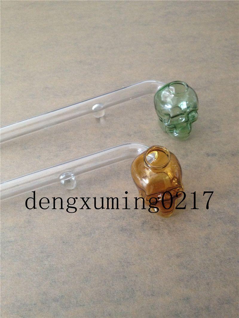 Más reciente Skull Smoking Pipe Burning Oil Pipe Glass Pipes 15 cm Longitud Mango Pipe Curved Mini Beautiful Pipe Smoking Accesorios baratos para fumar