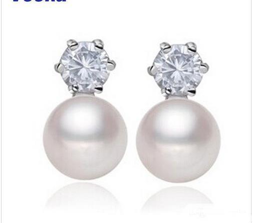 gioielli genuini 8-9mm perla orecchini per le donne gioielli di perle shinning cristallo bianco placcato oro orecchini accessori regalo