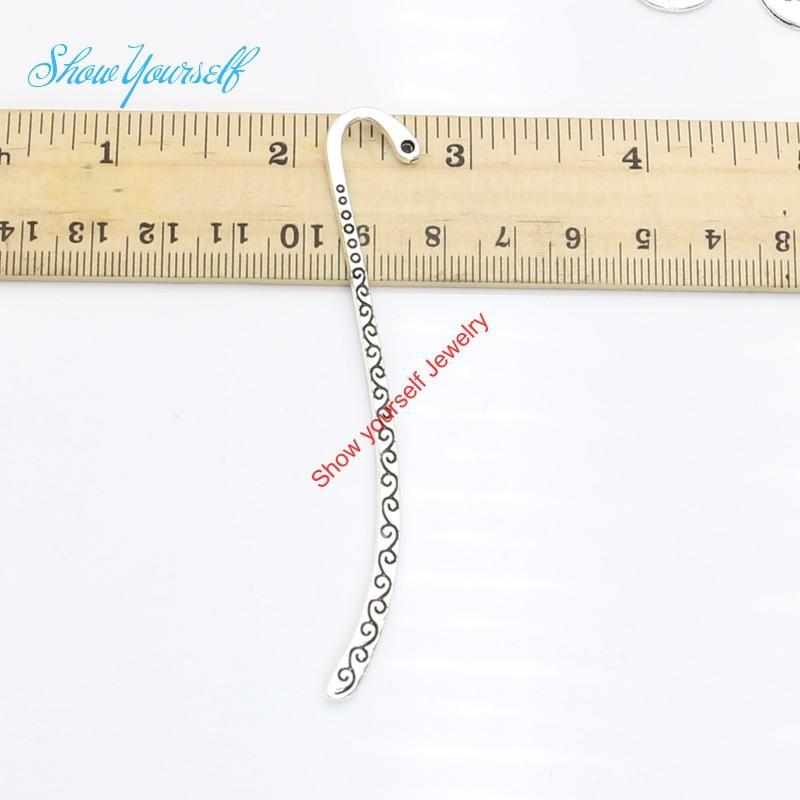 4 stücke Antikes Silber Überzogene Lesezeichen Charms Anhänger für Halskette Schmuck Handgemachte Fertigkeit DIY 85x14mm