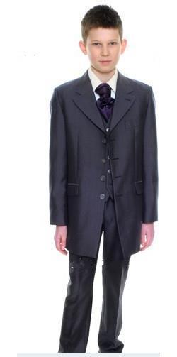 Abito lungo da uomo in carta carbone Boy Suit da cerimonia per ragazzi Abbigliamento formale da cerimonia Vestito su misura smoking (giacca + pantaloni + gilet + cravatta)
