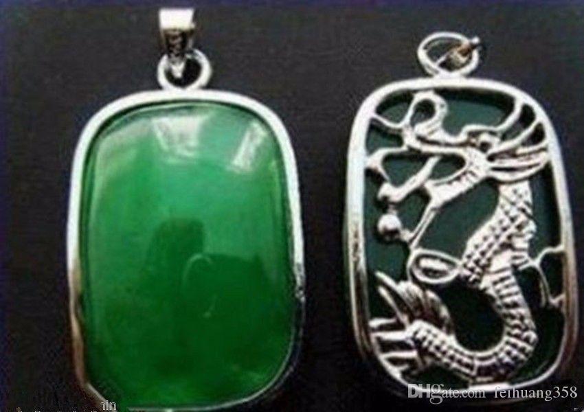 A + Güzel doğal Yeşil Yeşim Gümüş Muska kolye Kolye ve hediye eklendi