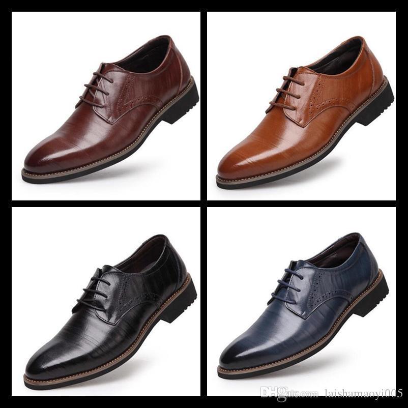 2019 Zapatos de vestir para hombre de cuero genuino 100% Zapatos Oxford de alta calidad para hombres Zapatos con cordones para hombres de negocios Zapatos de boda para hombres de marca Tamaño 38-48