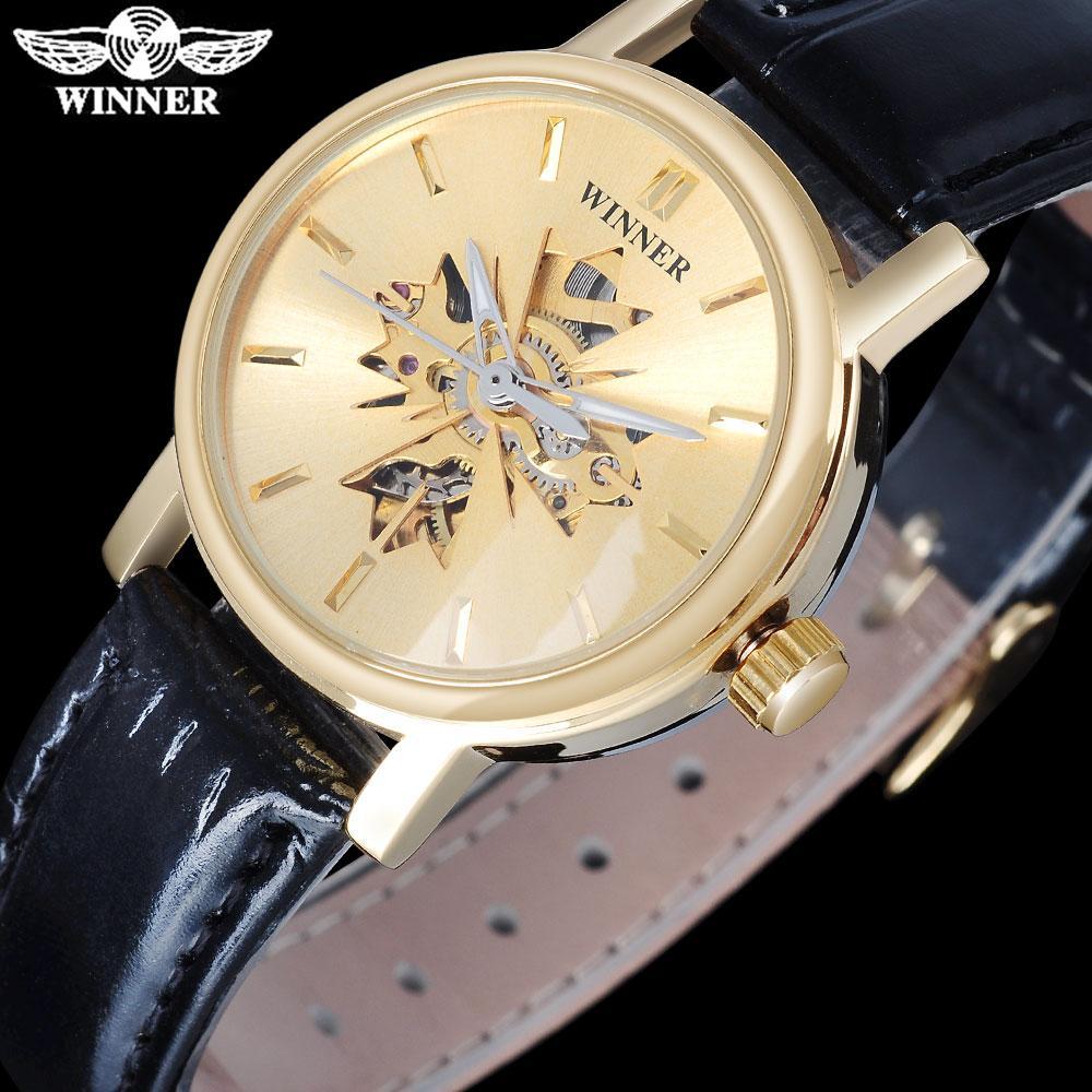 Zwycięzca Znana marka Kobiety Mechaniczne Wristwatches Luksusowy Automatyczny Self Wiatr Zegarek Szkielet Tarcza Gold Case Skórzana Band Slzb01