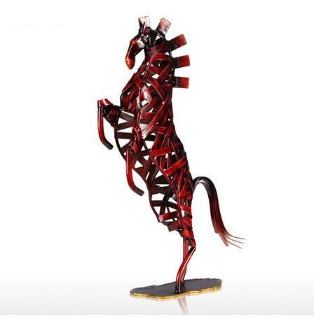 Metal Kırmızı Dokuma At Heykelcik Demir Minyatür Heykelcik Ev Dekor Hayvan Zanaat Hediye Ev Ofis Için