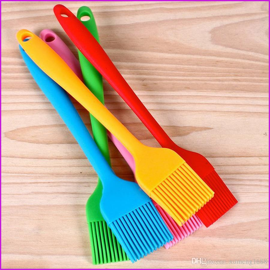 Silicone Cake Brush Tools Bread Oil Cream Cooking Basting Silicon BBQ Brush Kitchen Cake Tools, High Temperature Resistance, Mix Color