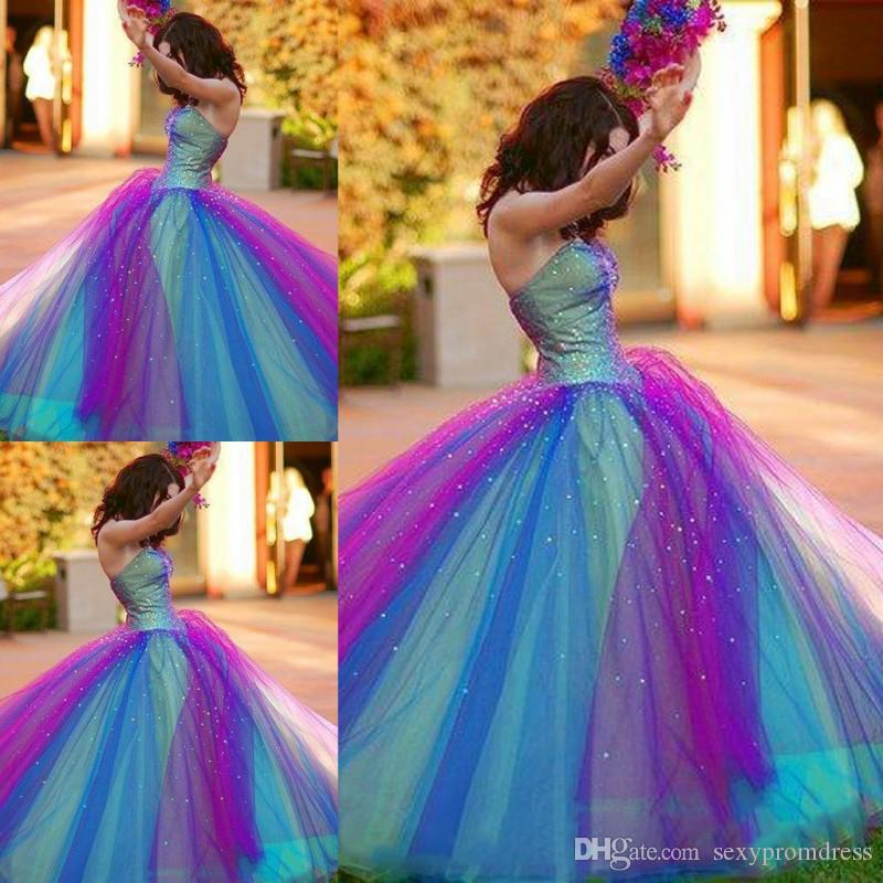 Rainbow Strapless Country Wedding Dresses Colourful Long Tulle Beach Bridal Gown